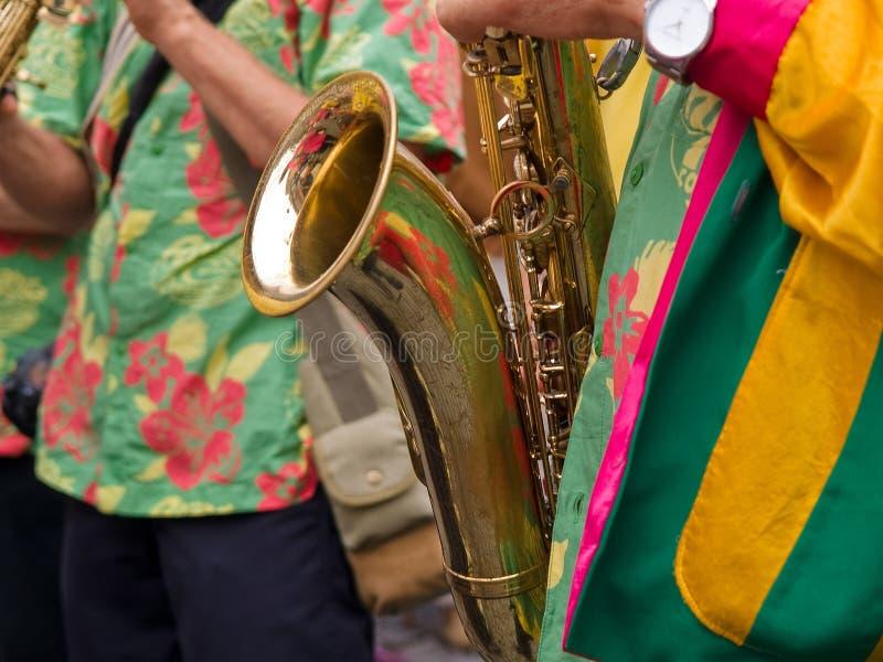 Jogador de saxofone do Cararibe do estilo da samba fotos de stock