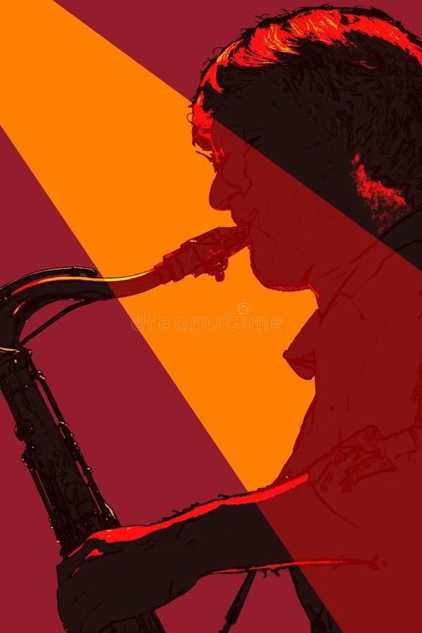 Jogador de saxofone mostrado em silhueta fotos de stock royalty free