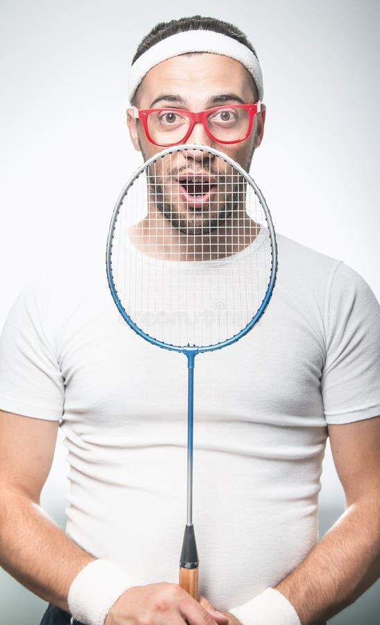 Jogador de ténis engraçado imagens de stock royalty free