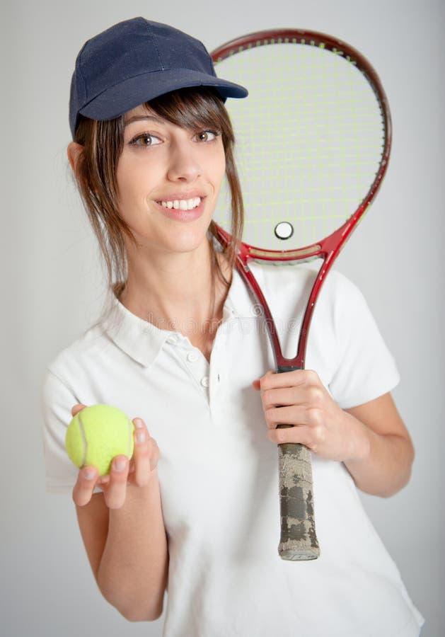 Jogador de ténis fêmea fotografia de stock royalty free