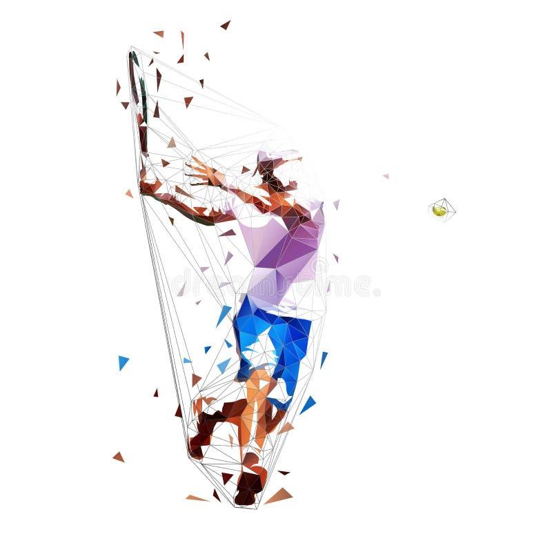 Jogador de tênis, baixa ilustração poligonal isolada do vetor Tiro de golpe Esporte individual ilustração royalty free