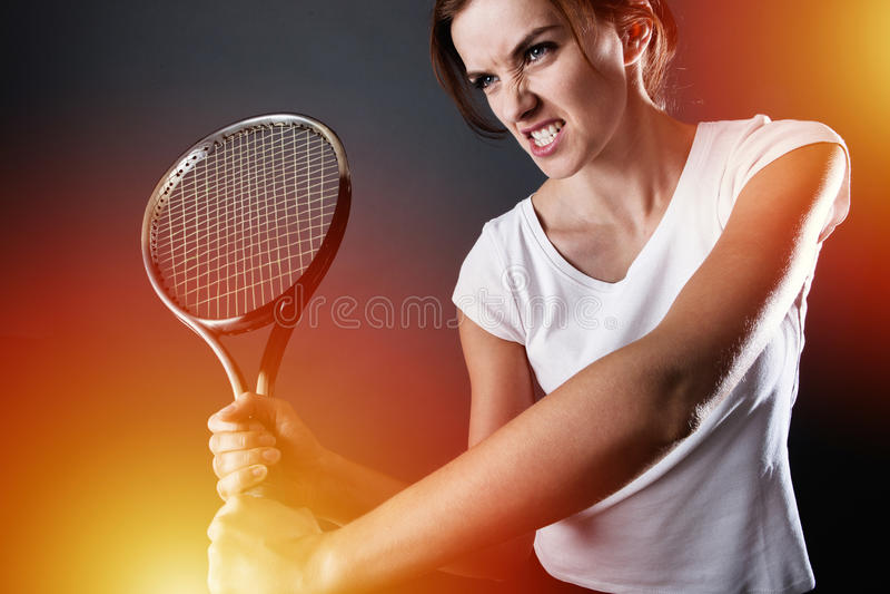 Jogador de tênis com relâmpagos foto de stock