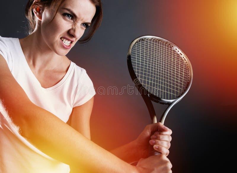 Jogador de tênis com relâmpagos fotografia de stock royalty free