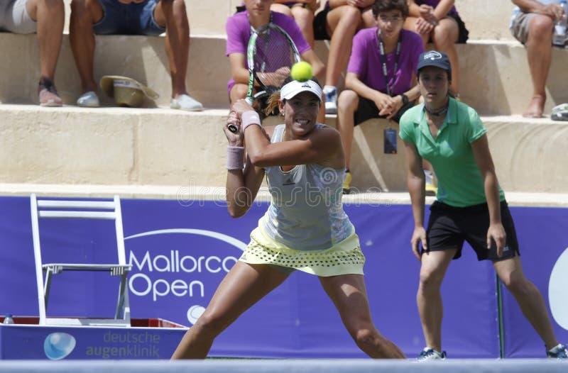 Jogador de tênis da parte superior de Garbine Muguruza que joga no Mallorca aberto imagens de stock