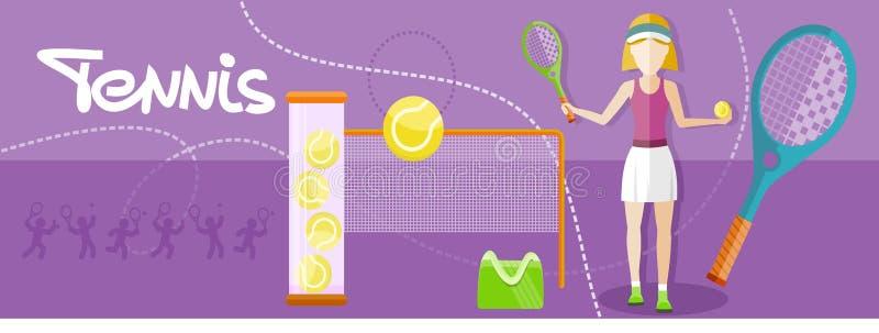 Jogador de tênis desportivo da menina com raquete ilustração do vetor