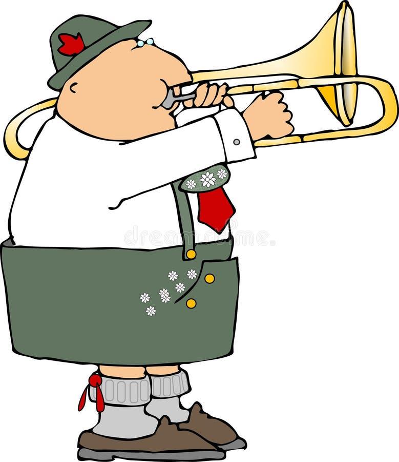 Jogador de Trombone alemão ilustração royalty free