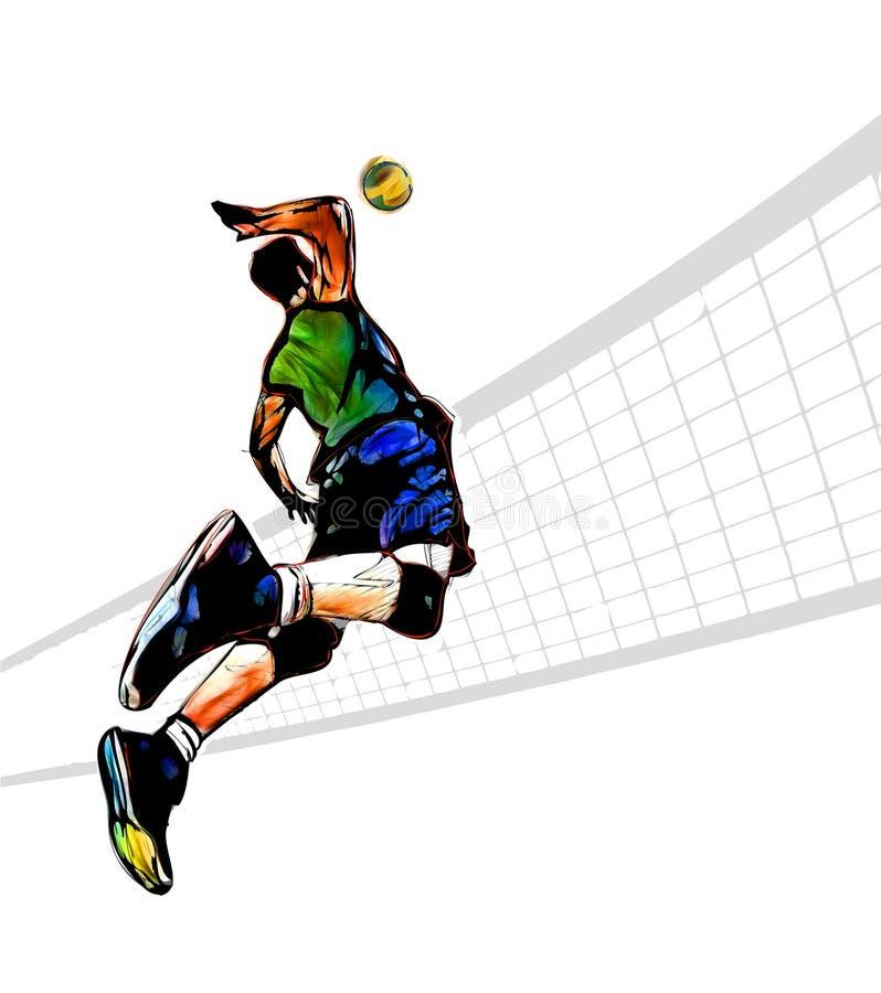 Jogador de voleibol ilustração stock