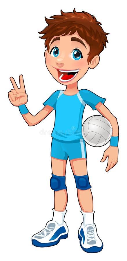 Jogador de voleibol novo. ilustração royalty free