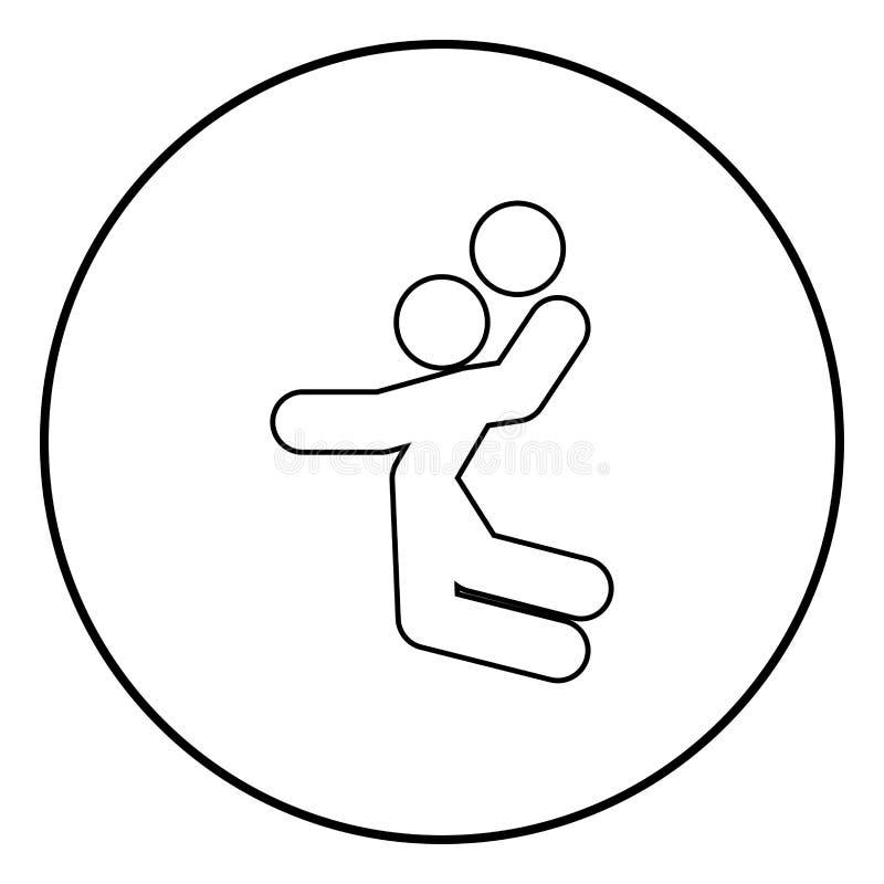 Jogador de voleibol ou jogador de basquetebol com uma imagem simples da ilustração do vetor da cor do preto do ícone da vara da b ilustração do vetor