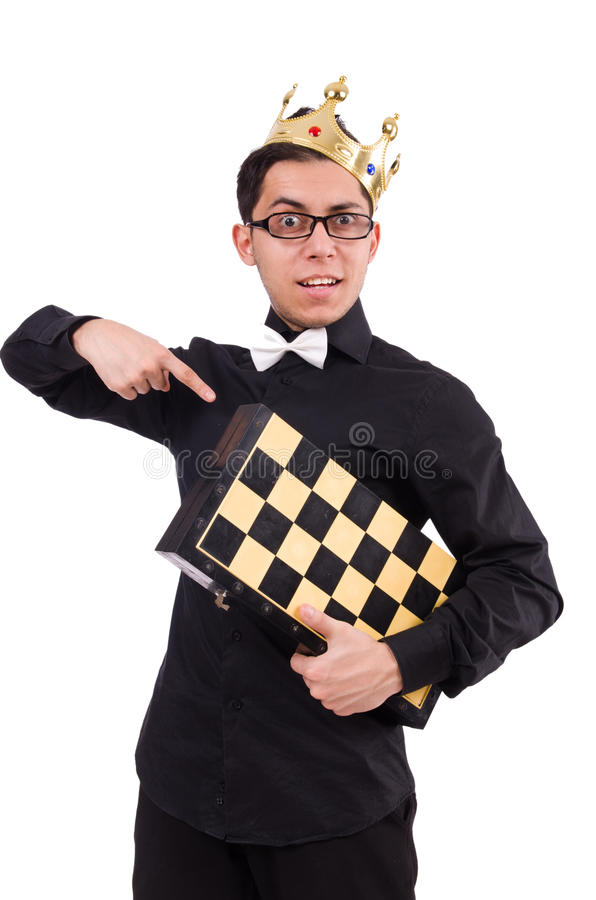 Jogador de xadrez engraçado foto de stock royalty free