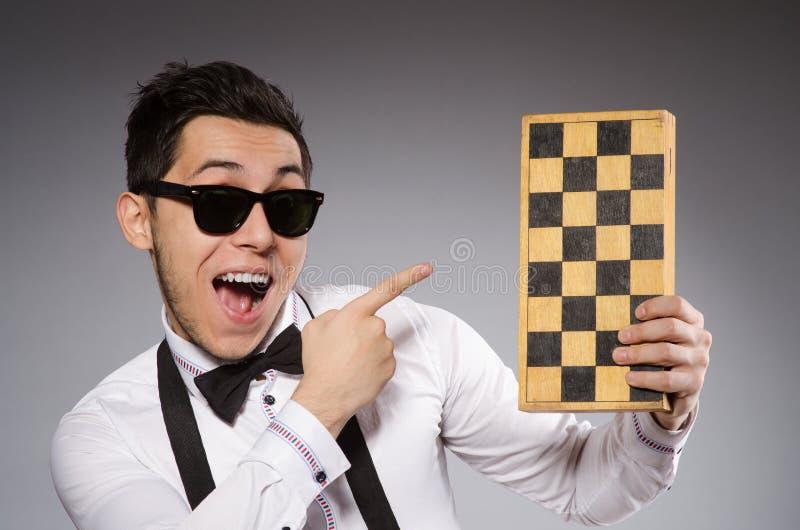 Jogador de xadrez engraçado imagens de stock royalty free
