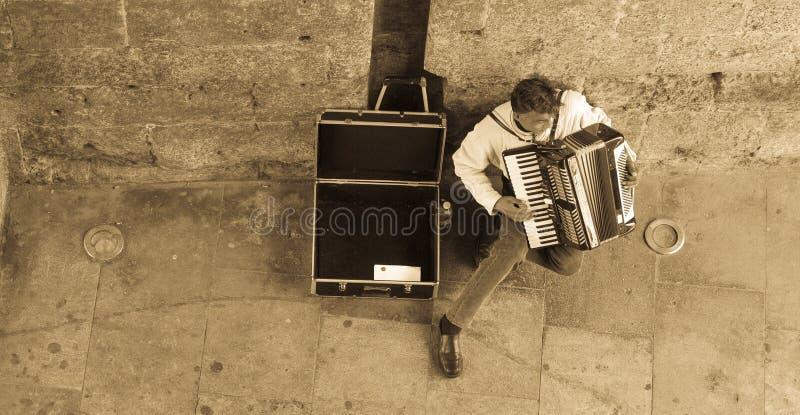 Jogador do acordeão em Valência imagem de stock