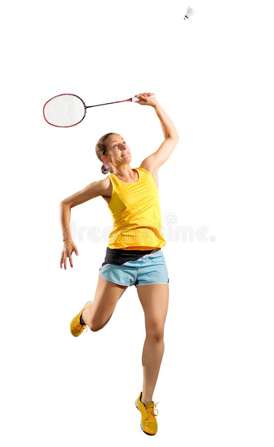 Jogador do badminton da mulher com ver da peteca fotografia de stock royalty free