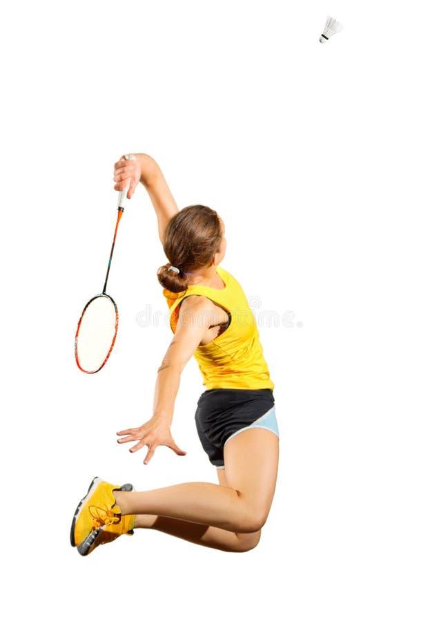 Jogador do badminton da mulher isolado sem versão líquida foto de stock