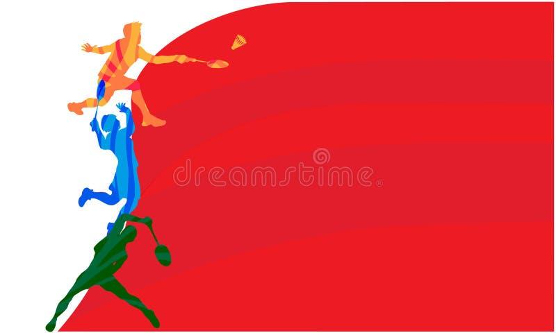 Jogador do badminton, ilustra??o do vetor com espa?o vazio para o cartaz, bandeira, an?ncio do competiam fotos de stock