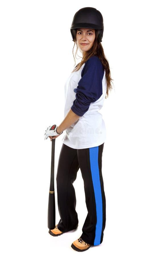 Jogador do basebol ou de softball da mulher fotografia de stock royalty free