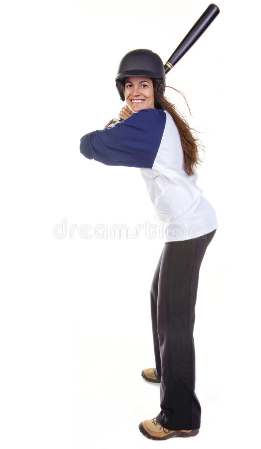 Jogador do basebol ou de softball da mulher fotografia de stock
