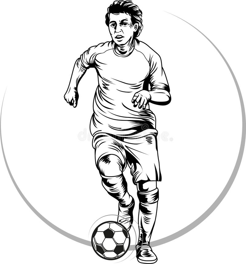 Jogador do futebol ou de futebol na ação ilustração stock