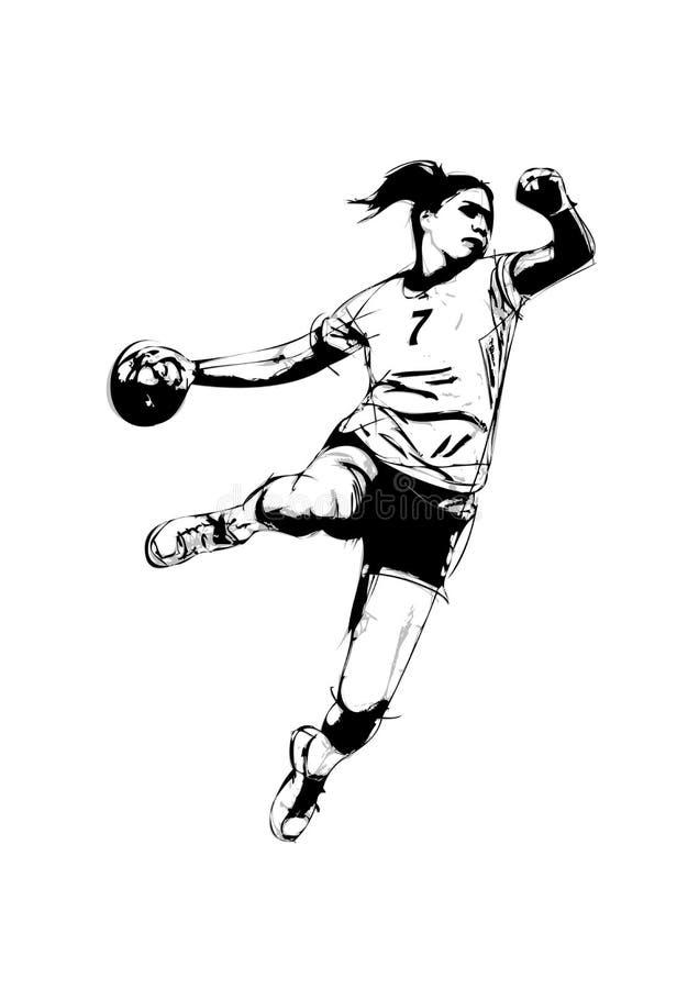 Jogador do handball da mulher ilustração do vetor