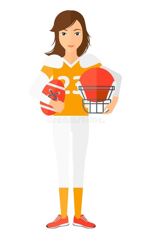 Jogador do rugby com bola e capacete nas mãos ilustração stock
