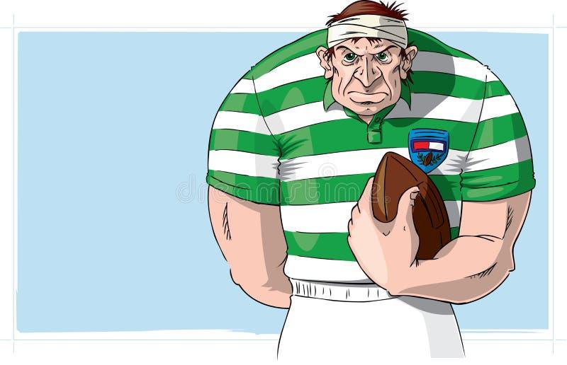 Jogador do rugby com esfera ilustração do vetor
