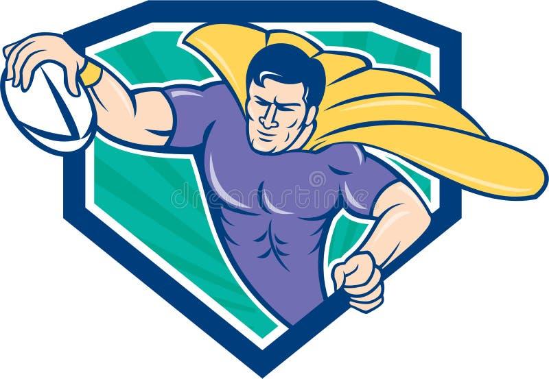 Jogador do rugby do super-herói que marca a crista da tentativa ilustração stock