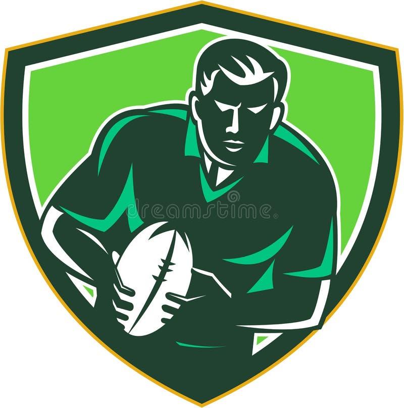 Jogador do rugby que corre passando a crista da bola retro ilustração royalty free