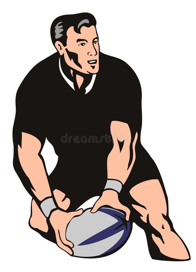 Jogador do rugby que passa a esfera ilustração royalty free