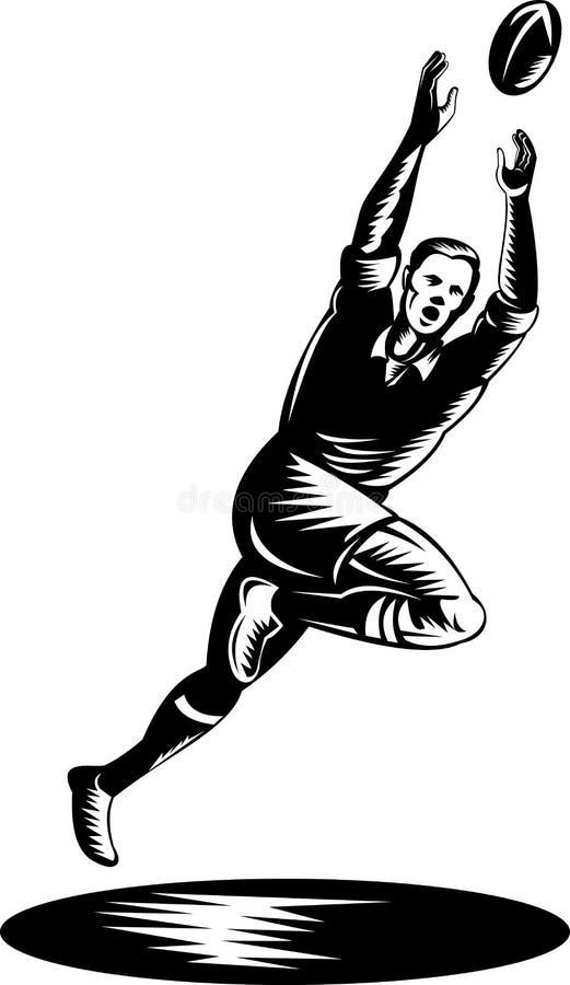 Jogador do rugby que salta para travar a esfera ilustração stock