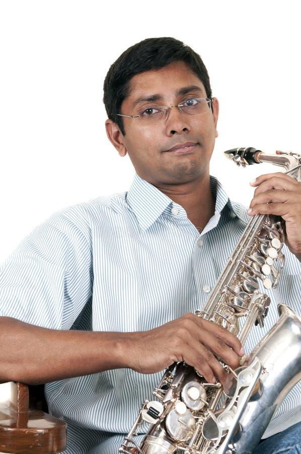 Jogador do saxofone imagem de stock