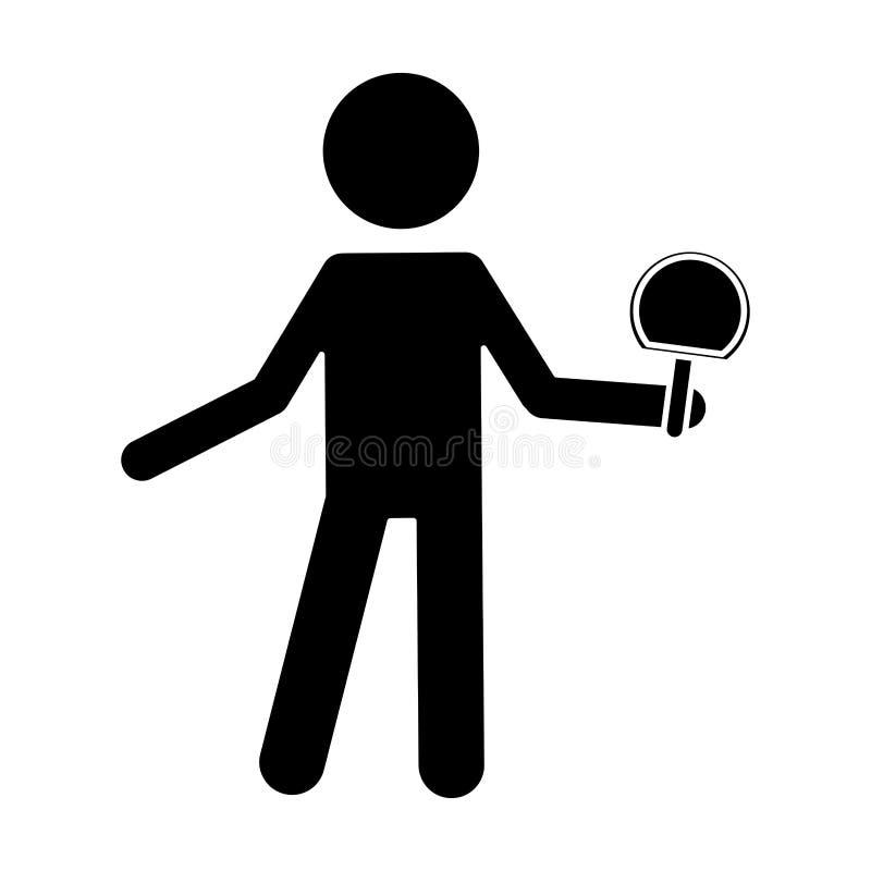 Jogador do tênis de mesa do caráter da silhueta com bola da raquete ilustração stock