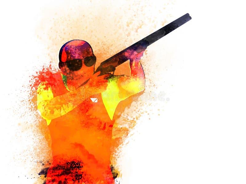 Jogador do tiro para o conceito dos esportes ilustração do vetor