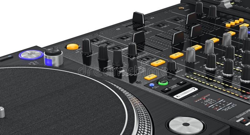 Jogador do vinil da plataforma giratória do DJ dos reguladores, vista próxima ilustração royalty free
