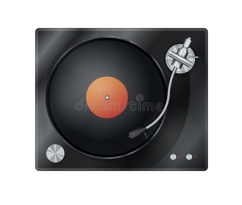 Jogador do vinil do vintage, plataforma giratória com disco do vinil, vista superior ilustração royalty free