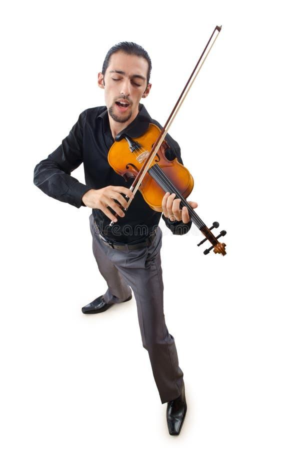 Jogador do violino isolado fotos de stock royalty free