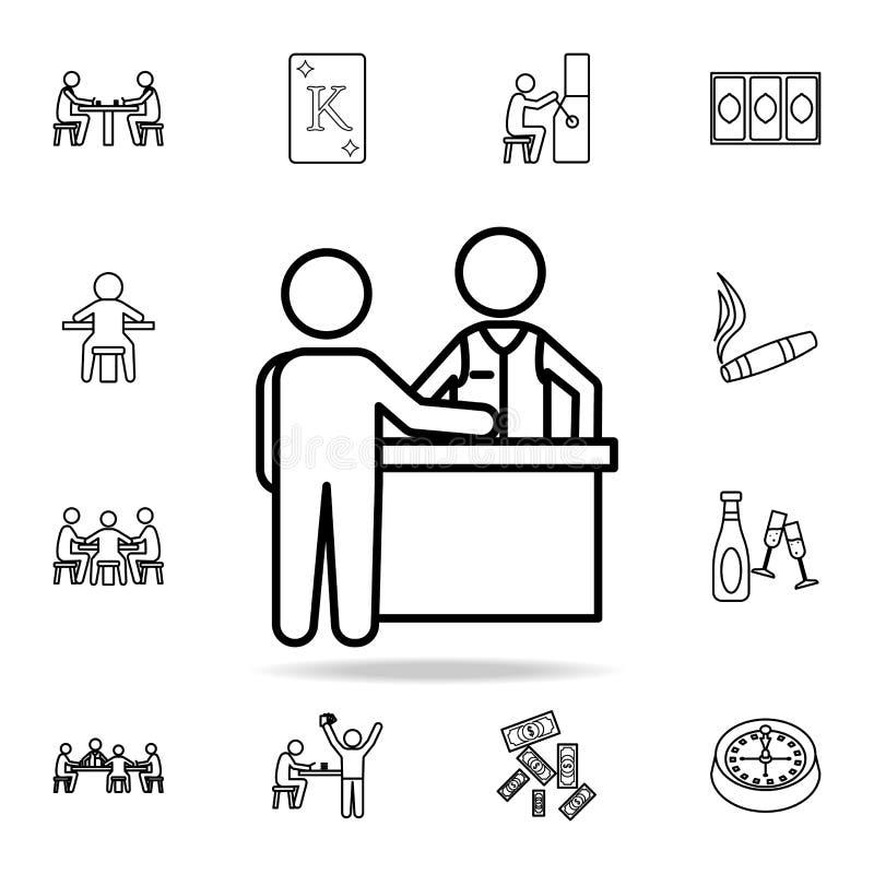 jogador e crouoier no ícone da tabela Grupo detalhado do esboço de ícones do elemento do casino Projeto gráfico superior Uma da c ilustração royalty free