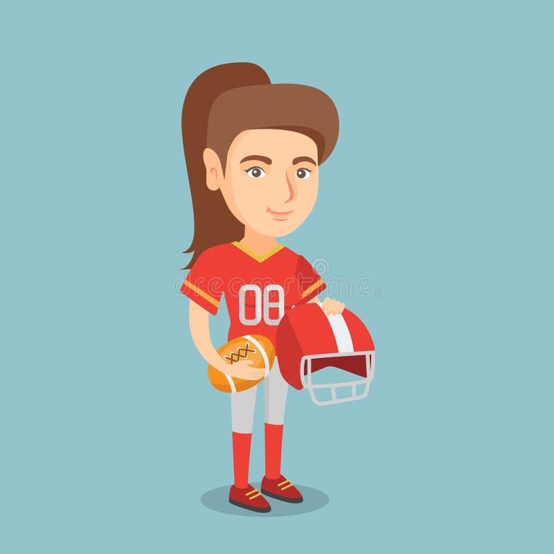 Jogador fêmea caucasiano novo do rugby ilustração stock