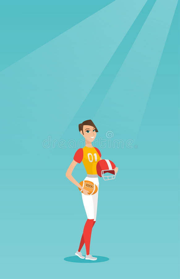 Jogador fêmea caucasiano novo do rugby ilustração royalty free