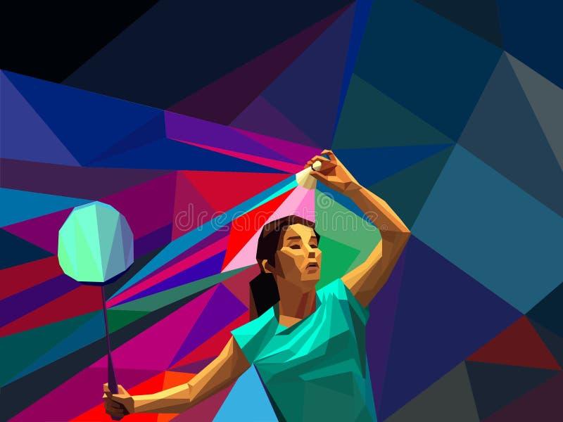 Jogador fêmea do badminton da senhora durante o tiro do saque ilustração stock