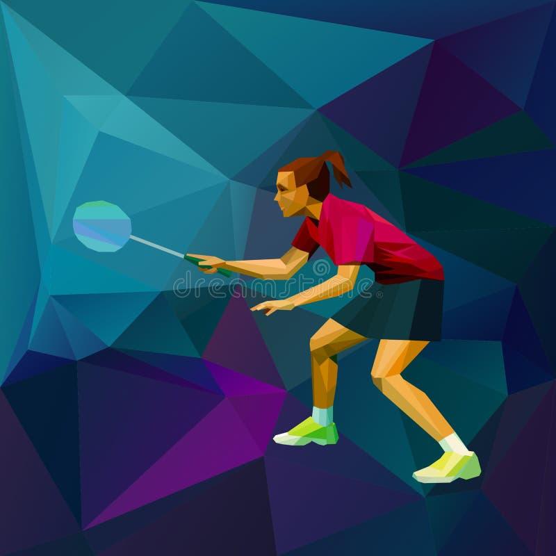 Jogador fêmea do badminton da senhora pronto para o jogo ilustração royalty free