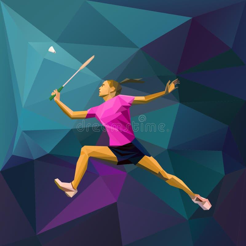 Jogador fêmea do badminton da senhora que salta para a peteca ilustração do vetor