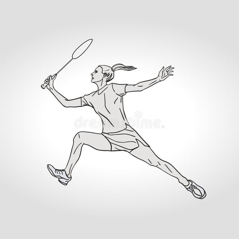 Jogador fêmea do badminton Ilustração desenhada mão ilustração stock