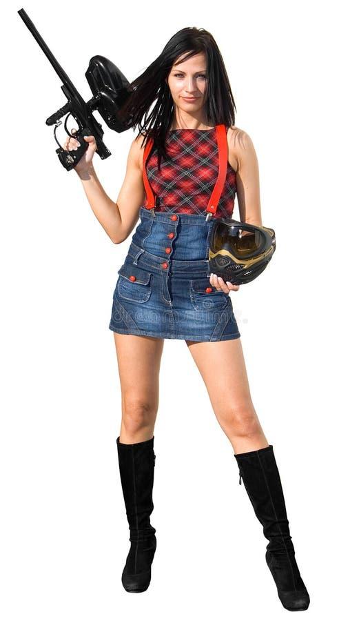 Jogador fêmea do paintball fotografia de stock