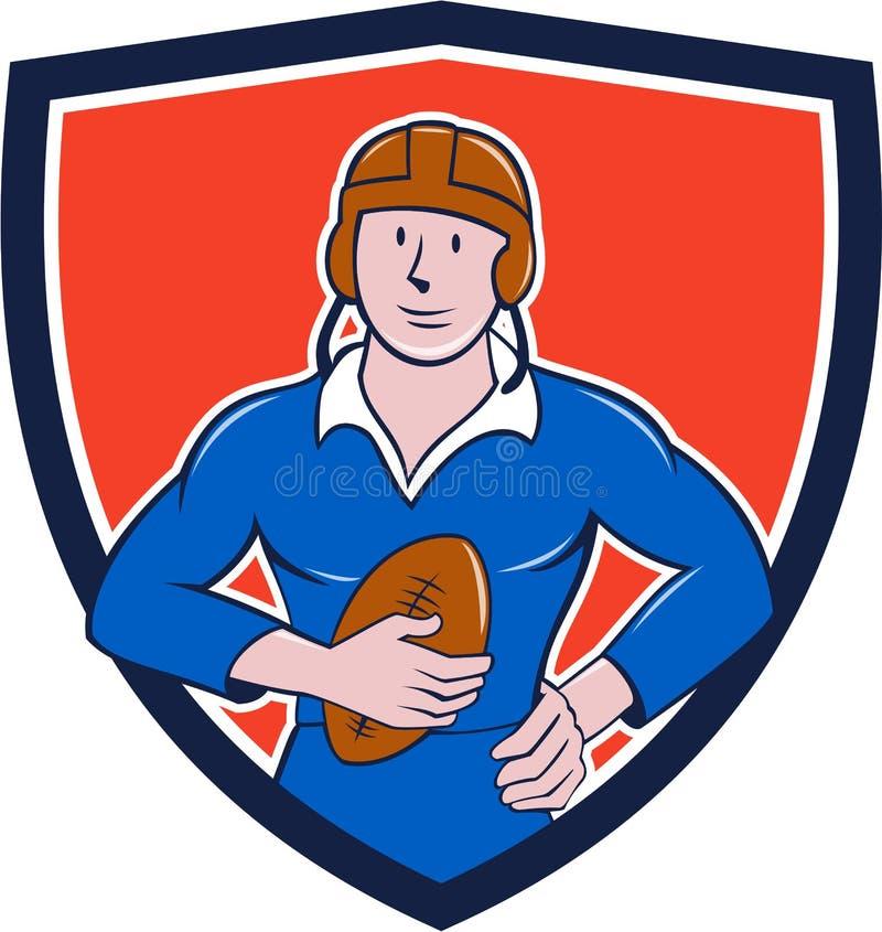 Jogador francês do rugby do vintage que guarda desenhos animados da crista da bola ilustração royalty free