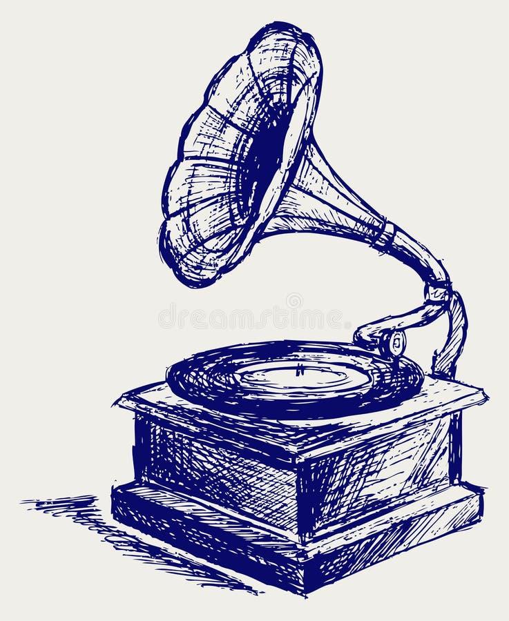 Jogador gravado idoso ilustração do vetor
