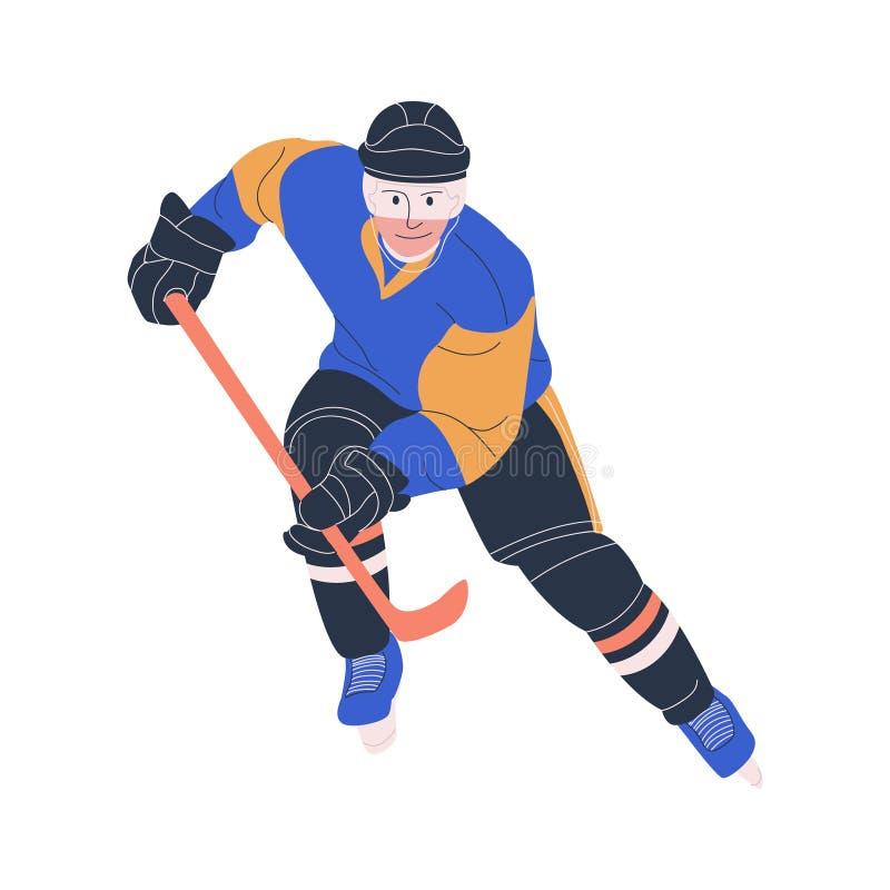 Jogador masculino adulto do hóquei em gelo como para a frente ou defesas ilustração do vetor