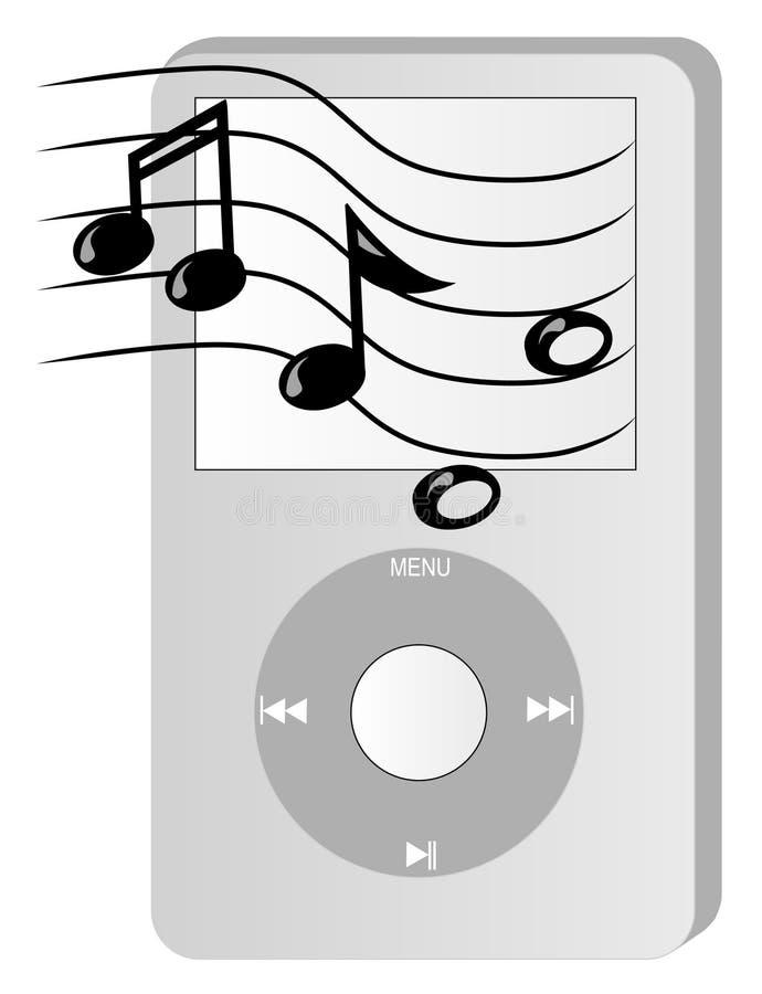 Jogador Mp3 com música ilustração royalty free
