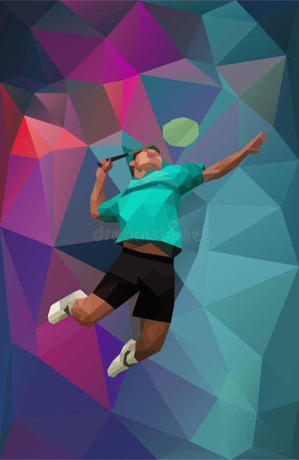 Jogador novo do badminton durante a quebra ilustração do vetor