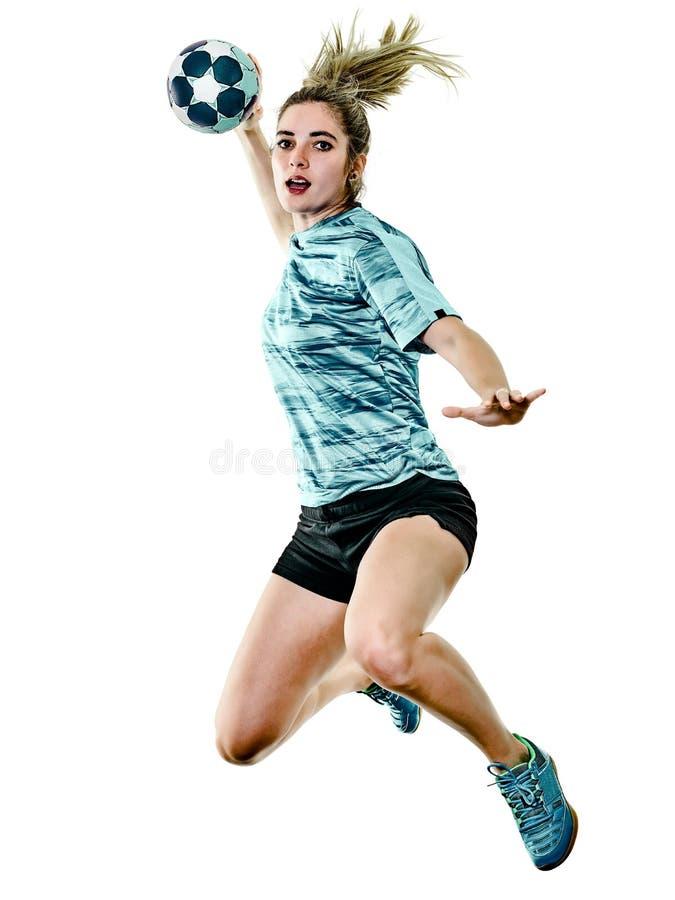 Jogador novo do handball da mulher da menina do adolescente isolado imagem de stock royalty free