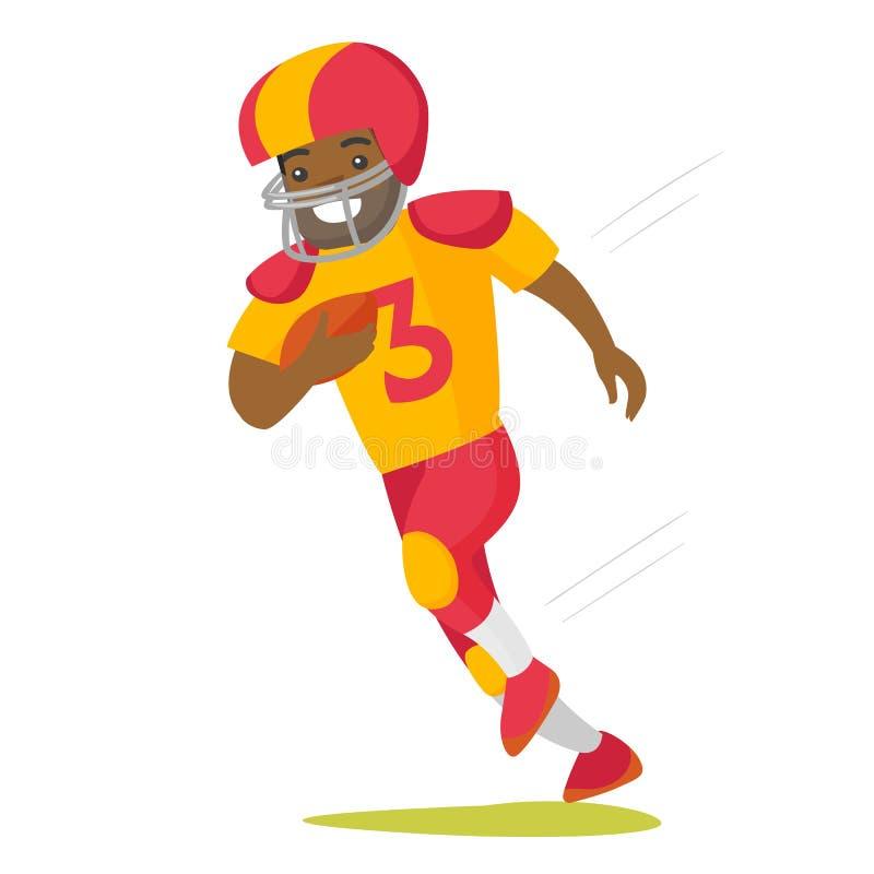 Jogador preto do rugby que corre com bola ilustração royalty free
